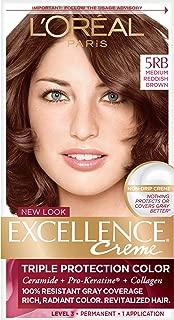L'Oreal Paris Excellence Creme Permanent Hair Color, Medium Red Brown (3 Count)