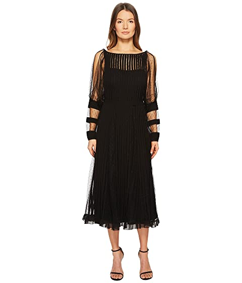 RED VALENTINO Point D'Esprit Dress with Georgette Tubulars