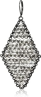Kenneth Cole Woven Black Diamond Faceted Bead Kite Drop Earrings, One Size