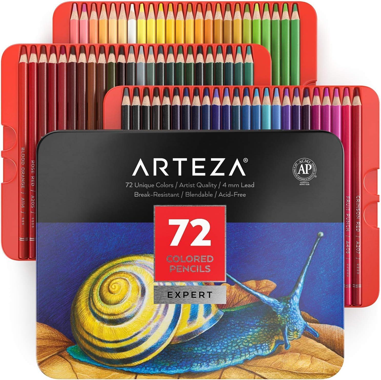 Arteza Colored Pencils, Set of 72 Colors