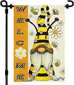 Summer Gnome Garden Flag, Double Sided Welcome Garden Flag, Gnome yard decorations, 12x18 Inch Bee Burlap Yard Flags for outside