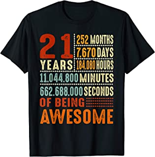 Vintage 21st Birthday Gift Ideas 21 Years 252 Months T-Shirt