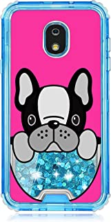 TurtleArmor | Compatible with Samsung Galaxy J3 (2018) Case | J337 | Blue Fitted Dual Layer TPU Bumper Case with Flowing Liquid Waterfall Quicksand Glitter Sparkle Bling Hearts - French Bulldog
