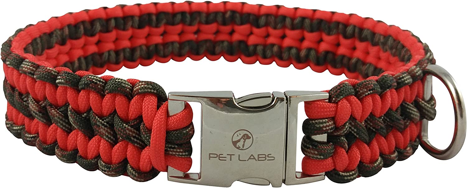 Pet Labs Paracord Dog Collar orangeRed and Army Green Camo with Buckle (16.14in   41cm)