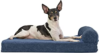 Furhaven Pet Dog Bed | Deluxe Memory Foam Faux Fleece & Corduroy Chaise Lounge Living Room Couch Pet Bed w/ Removable Cover for Dogs & Cats, Navy, Medium