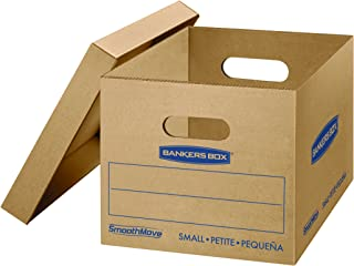 Bankers Box SmoothMove Classic Moving Boxes, Tape-Free Assembly, Easy Carry Handles, Small, 15 x 12 x 10 Inches, 10 Pack (7714901)