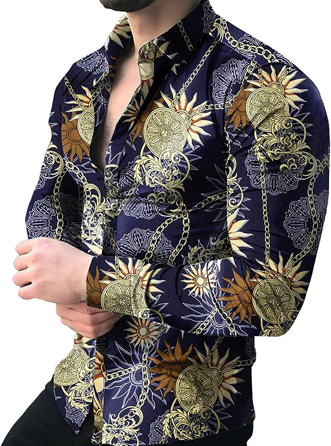 Huangse Men's Hipster Printed Slim Fit Long Sleeve Shirt Casual Button Down Hawaii Flower Vacation Shirt