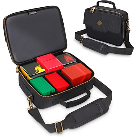 ENHANCE MTG Card Box Storage Case - Deck Holder Card Carrying Case Bag Compatible with Magic MTG Cards, Card Games, Cards Against Humanity - Pencil Loops, Pocket for Dice, & Tokens