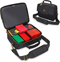 ENHANCE MTG Card Box Storage Case - Deck Holder Card Carrying Case Bag Compatible with Magic MTG Cards, Card Games, Cards Against Humanity - Pencil Loops, Pocket for Dice, Tokens