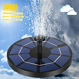 MOAMI Solar Powered Fountain Pump for Bird Bath Upgraded 6 Nozzles, 800mAh Battery Backup, Solar Bird Bath Fountains for Pool,Rockery,Fish Tank Water Circulation