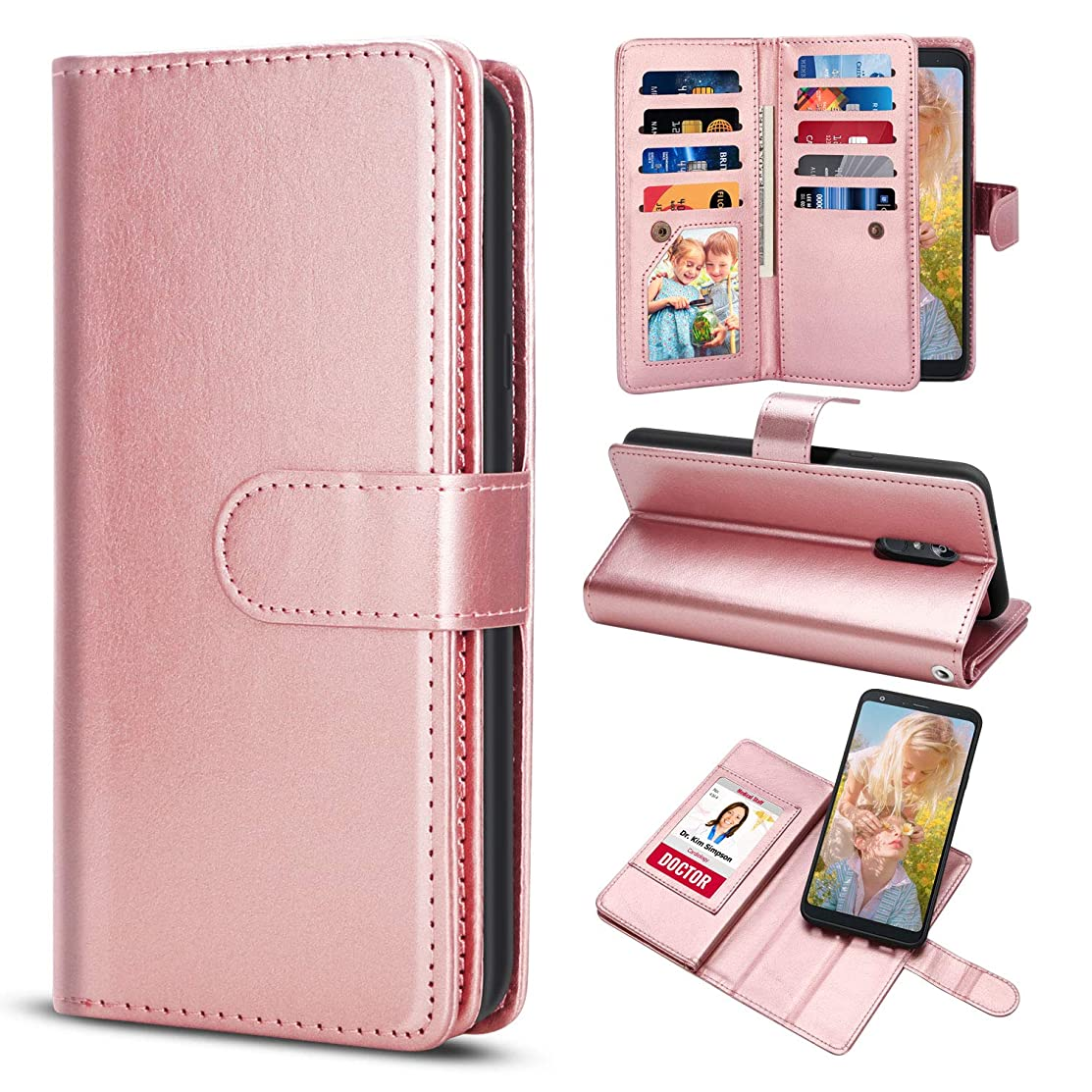 TILL for LG Q Stylus Plus/LG Stylo 4 Case, TILL LG Stylus 4 Wallet Case PU Leather Carrying Flip Cover [Cash Credit Card Slot Holder & Kickstand] Detachable Magnetic Folio Full Case Shell [Rose Gold]