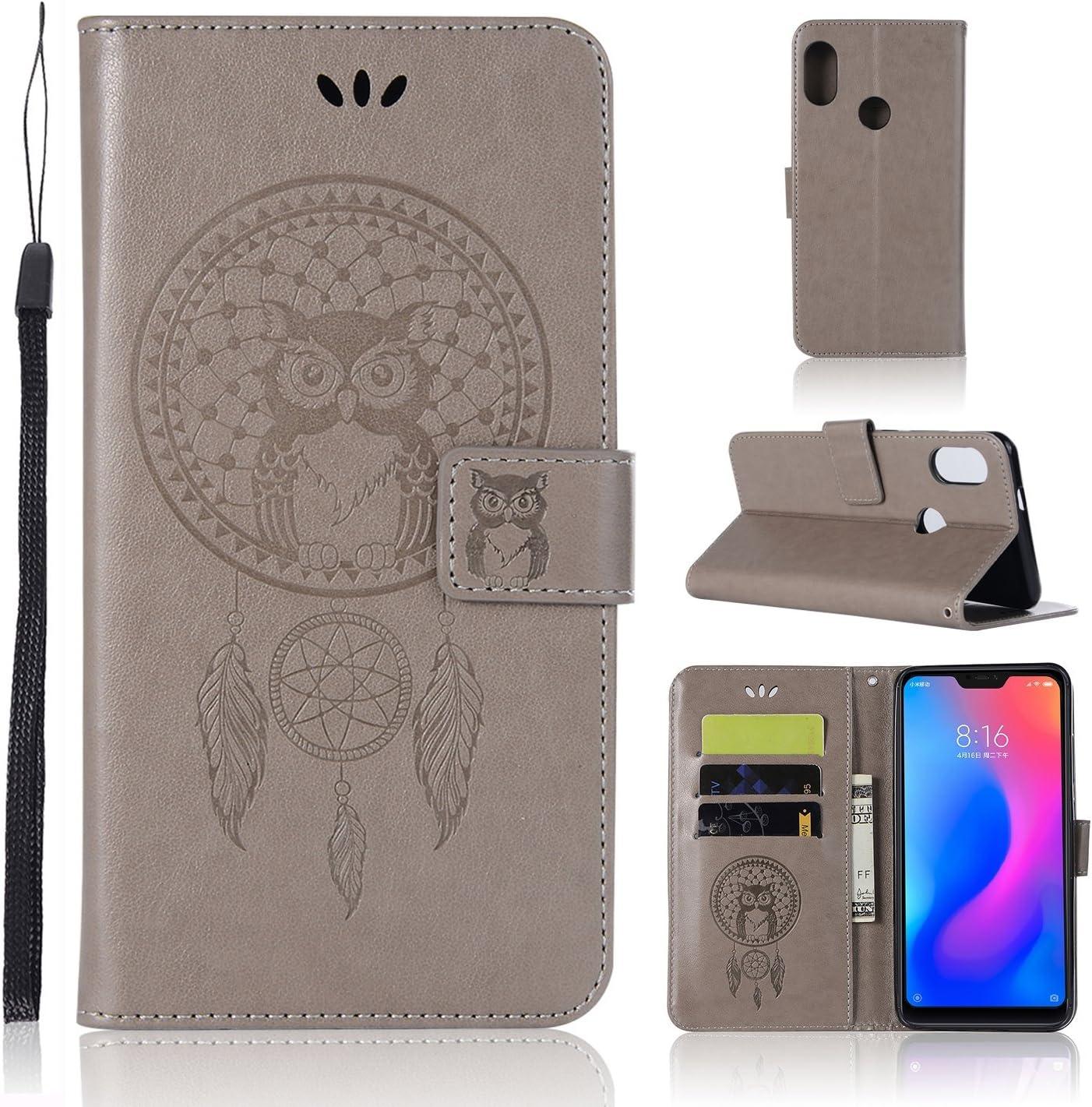 Zchen Funda Xiaomi Redmi 6 Pro, Funda Xiaomi Mi A2 Lite, Funda Piel con Tapa PU Tipo Libro Billetera Resistent Carcasa para Xiaomi Redmi 6 Pro/Mi A2 Lite (Atrapasueños Búho-Gris)