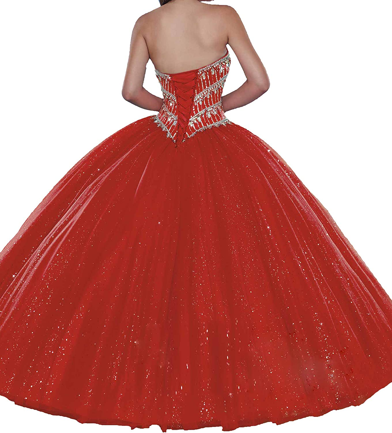 TuanYuany Sweet Girls Rhinestone 16 Party Ball Gowns Women Sequin Quinceanera Dress