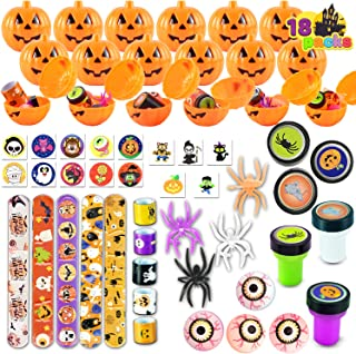 : Halloween Party Favors Set, 18 Pack Prefilled Pumpkin Box with Halloween Themed Party Favors Including Halloween Stamps,...