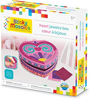 ORB The Factory Sticky Mosaics Heart Jewelry Box Arts & Crafts, Pink/Purple/Teal, 8.26