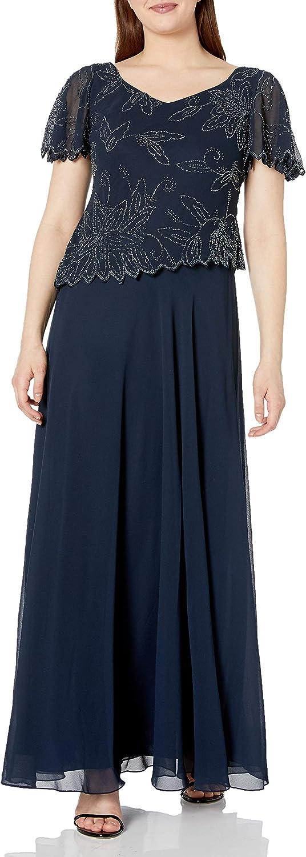 J Kara Women's Flutter Sleeve Beaded Long Dress