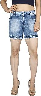 FCK-3 Women's Embellished Denim Short-300-Lcloud