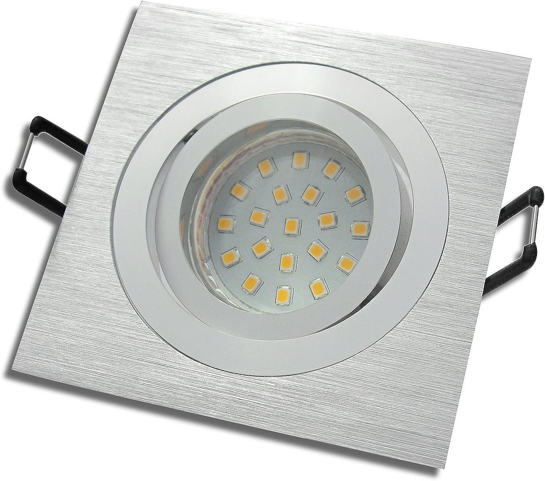 5 Stück SMD LED Einbauleuchte Lena 230 Volt 3 Watt Schwenkbar Silber Warmwei