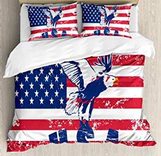 Ambesonne United States Duvet Cover Set, Grunge Looking American National Flag with Eagle and USA Print, Decorative 3 Piece Bedding Set with 2 Pillow Shams, Queen Size, White Navy