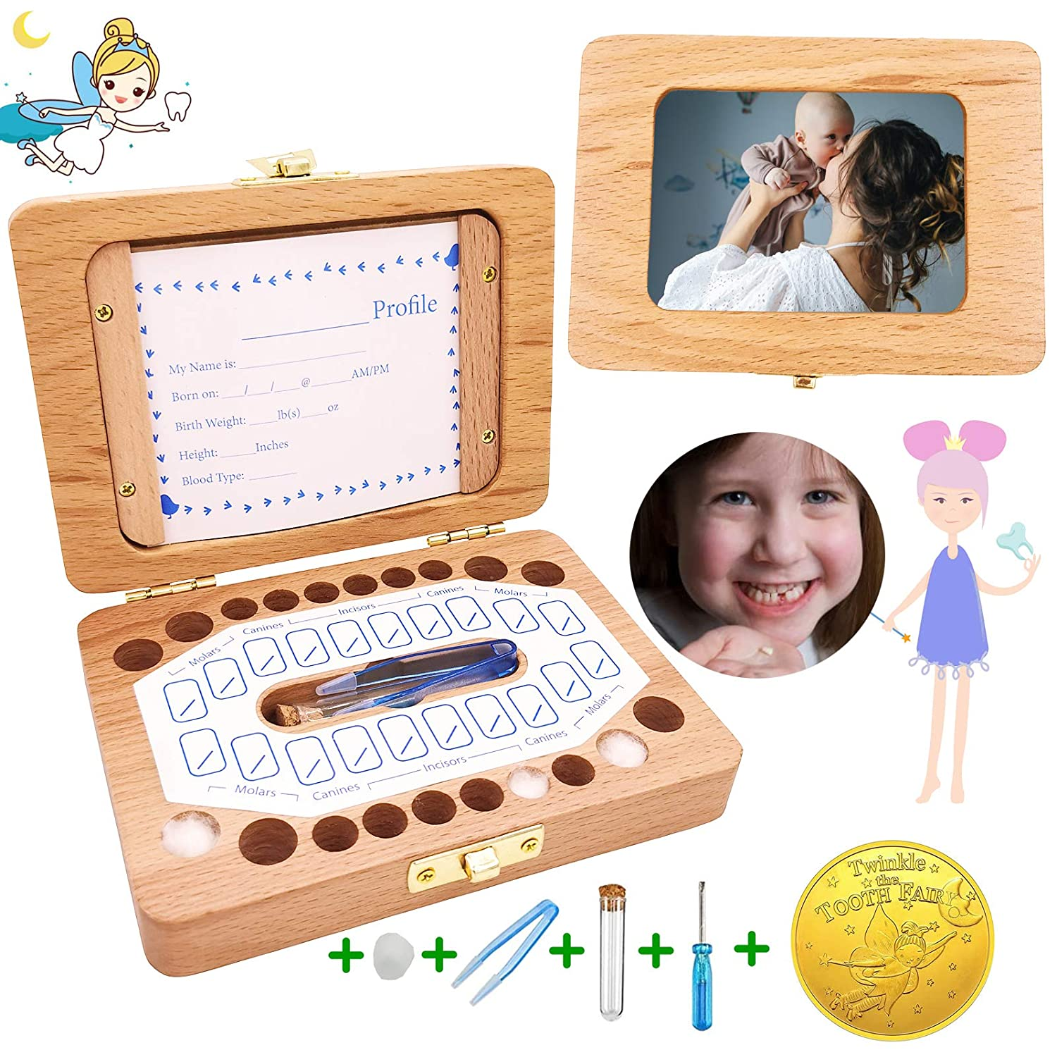 Baby Tooth Box, Solid Wood Kids Keepsake Organizer Holder for Baby Teeth and Hair with Photo Frame and 1pcs Tooth Fairy Coin, Baby Shower& Birthday Gift