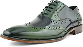 AG100 - Men's Dress Shoes - Genuine Calf Leather Wingtip Oxfords - Two Tone and Multi Tone Mens Dress Shoes
