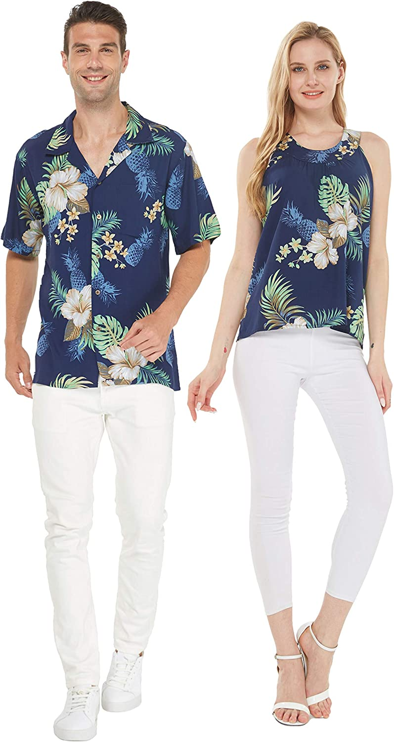 Couple Matching Max 84% OFF Hawaiian Luau Outfit Selling and selling Aloha in Shirt Top and Tank