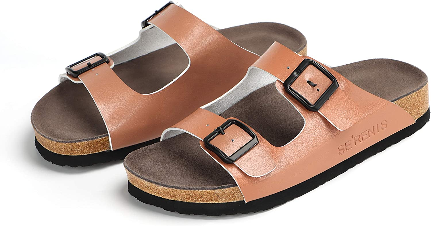SE'RENIS Women's Slip On Slide Sandal with Comfortable Soft Cork Footbed And 2 Strape Buckle
