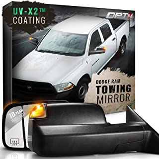 OPT7 Deluxe Pair Truck Towing Trailer Mirrors for 2009-2012 Dodge Ram 1500/2500/3500 - Powered Heated Turn Signals Adjustable Foldable Puddle Light DOT Approved - 10-Year Warranty