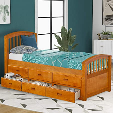 Amazon Com Merax Twin Size Platform Storage Bed Solid Wood Bed With 6 Drawers Natural Kitchen Dining