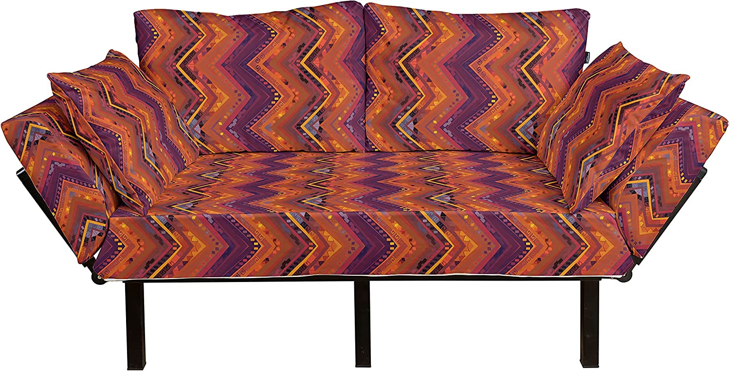 Ambesonne Tribal Limited time sale Futon Couch Native Zig with Ornament Zag Motif Great interest