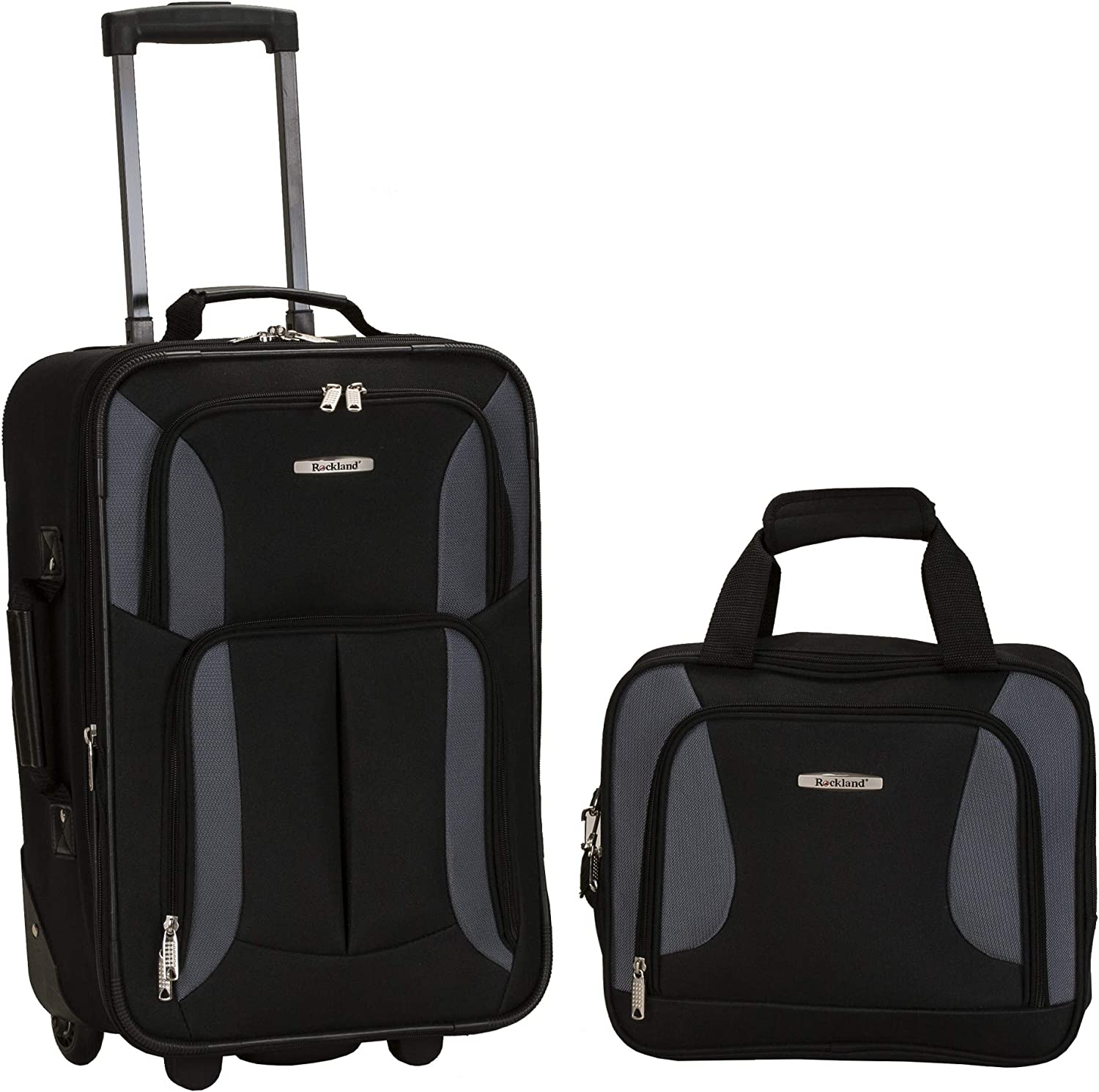 Rockland Fashion Softside Tampa Mall Upright Luggage Don't miss the campaign Set Black Gray 2-Pie