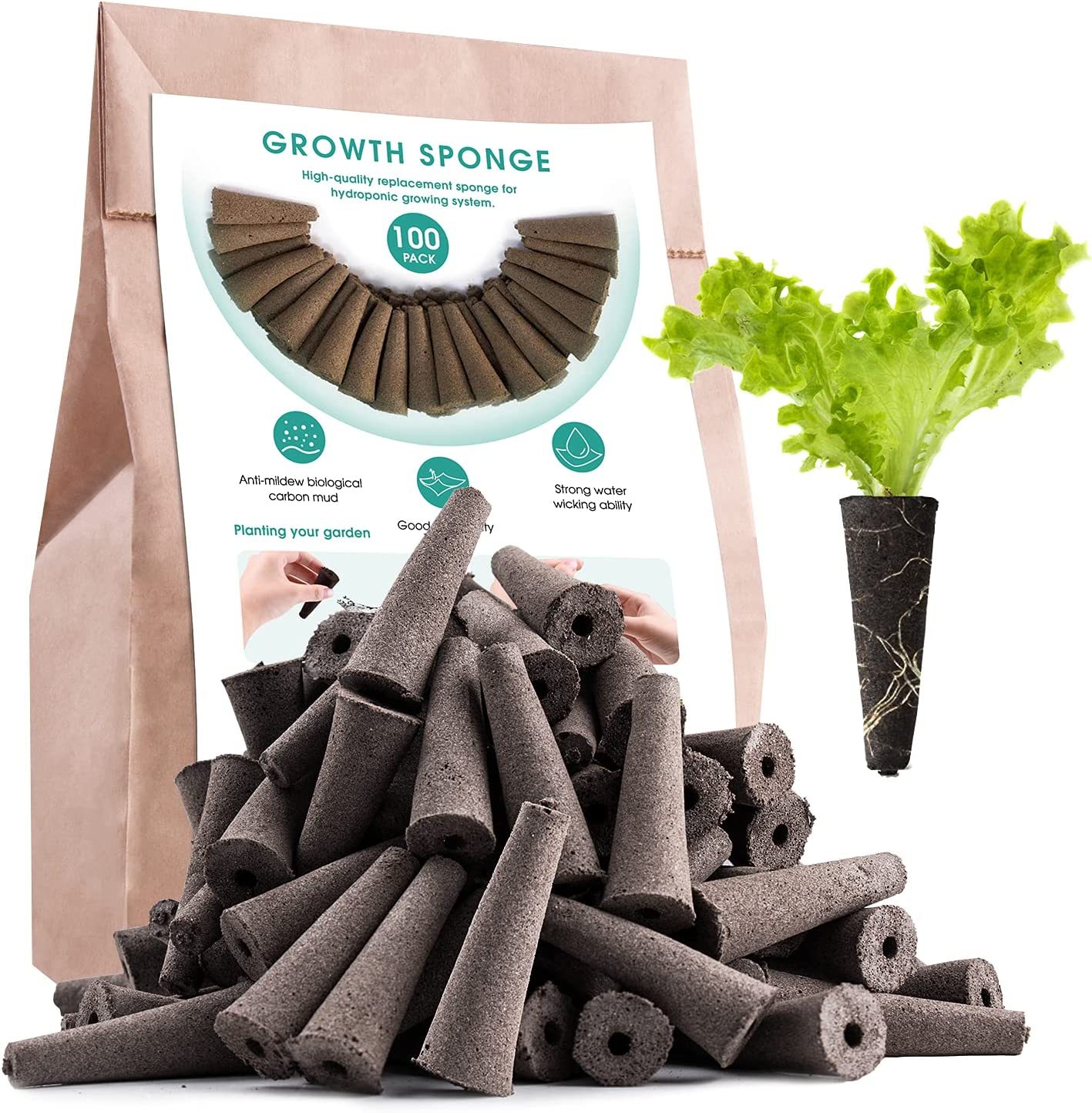 100 Pack Growth Sponges, Replacement Root Growth Sponges Seed Pods Compatible with AeroGarden, Seedling Starter Sponges Kit for Hydroponic Indoor Garden System