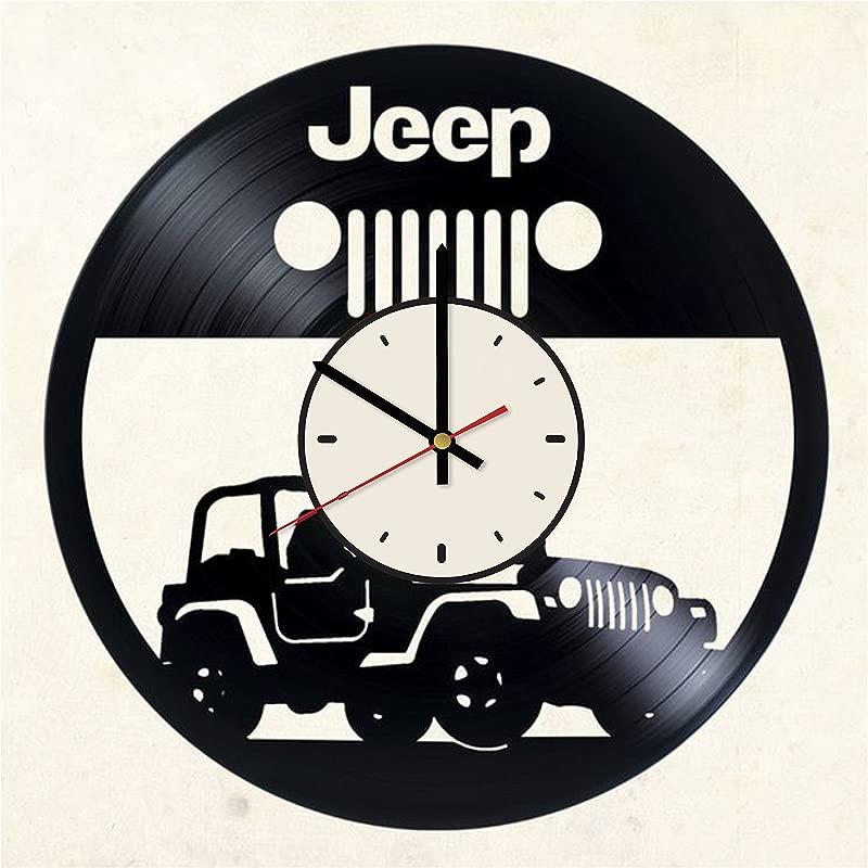 Pieceful Off Road Automobile Jeep Vinyl Record Wall Clock Artwork Gift Idea For Birthday Christmas Women Men Friends Girlfriend Boyfriend And Teens Living Kids Room Nursery