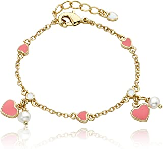 Little Miss Twin Stars Enamel Bracelet Pink Hearts And Pearls 14K Gold Plated Chain Bracelet