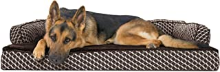 Furhaven Pet Dog Bed | Orthopedic Plush Faux Fur & Décor Comfy Couch Traditional Sofa-Style Living Room Couch Pet Bed w/ Removable Cover for Dogs & Cats, Diamond Brown, Jumbo