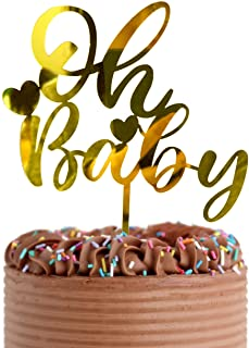 """Baby Shower Cake Topper -Larger Size Acrylic Mirror Gold Cute Handwriting """"OH BABY"""" Sign- Smash Cake Topper, New Baby Gend..."""