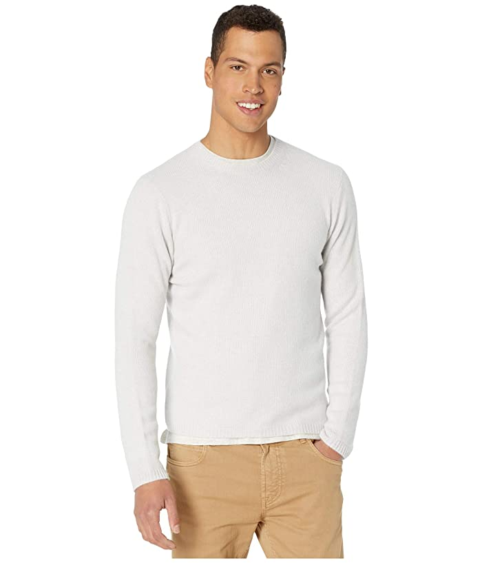 Vince  Long Sleeve Cashmere Crew Sweater (Heathered White) Mens Clothing