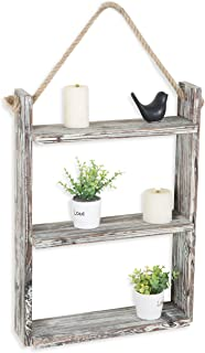 MyGift 3-Tie Rustic Wood Wall Shelf with Hanging Rope
