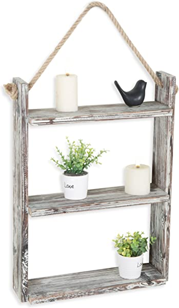 MyGift 3 Tie Rustic Wood Wall Shelf With Hanging Rope