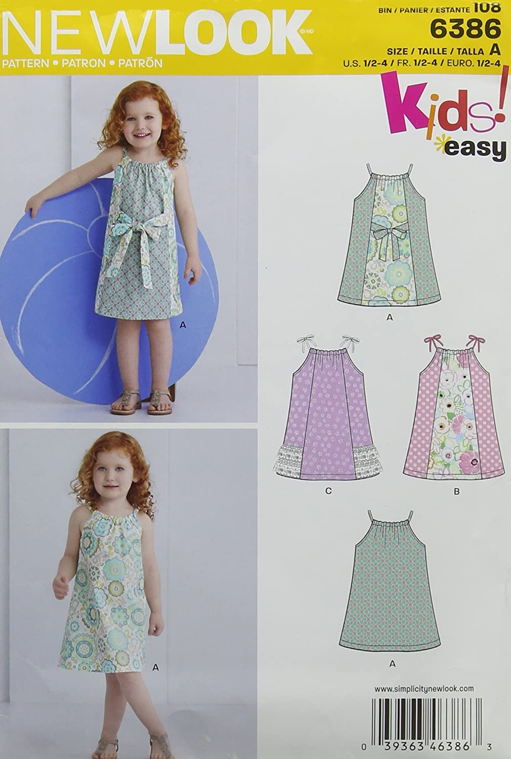 New Look 6386 4 years warranty Toddlers' Easy Kit Ranking integrated 1st place Pillowcase Sewing Size Dresses