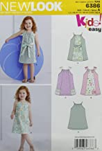 New Look 6386 Toddlers' Easy Pillowcase Dresses Sewing Kit, Size A (1/2-1-2-3-4)
