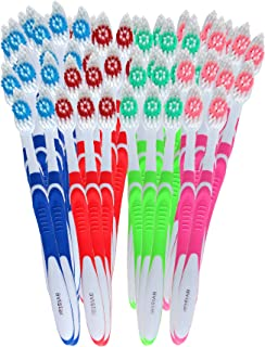 148 Individually Packaged Large Head Medium Bristle Disposable Bulk Toothbrushes - Multi Color Pack - Convenient & Affordable