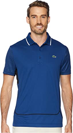 Sport Short Sleeve Ultra Dry Net Print Color Block Polo w/ Flatlock Detail