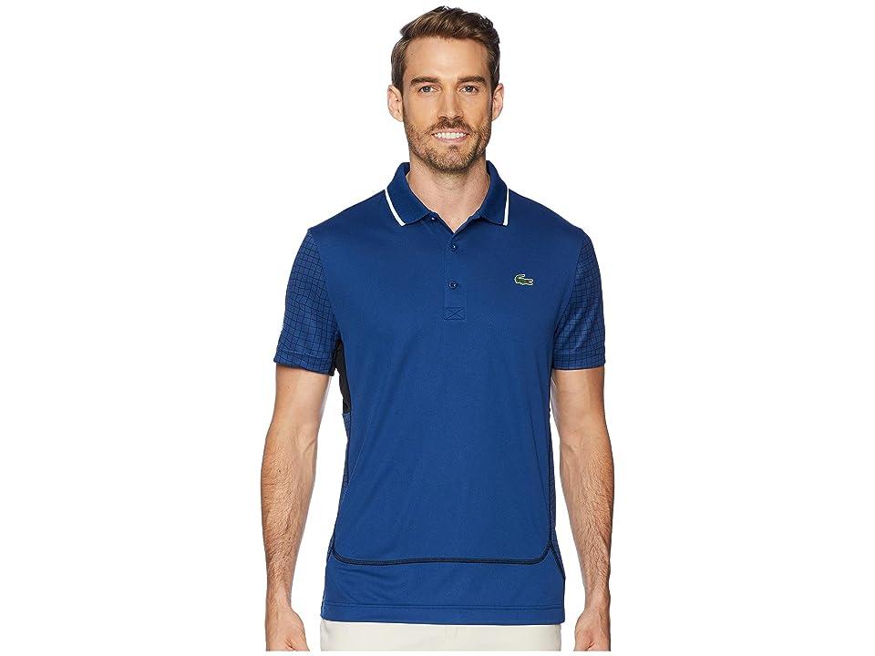 Lacoste Sport Short Sleeve Ultra Dry Net Print Color Block Polo w/ Flatlock Detail (Inkwell/Black/Black/Black) Men