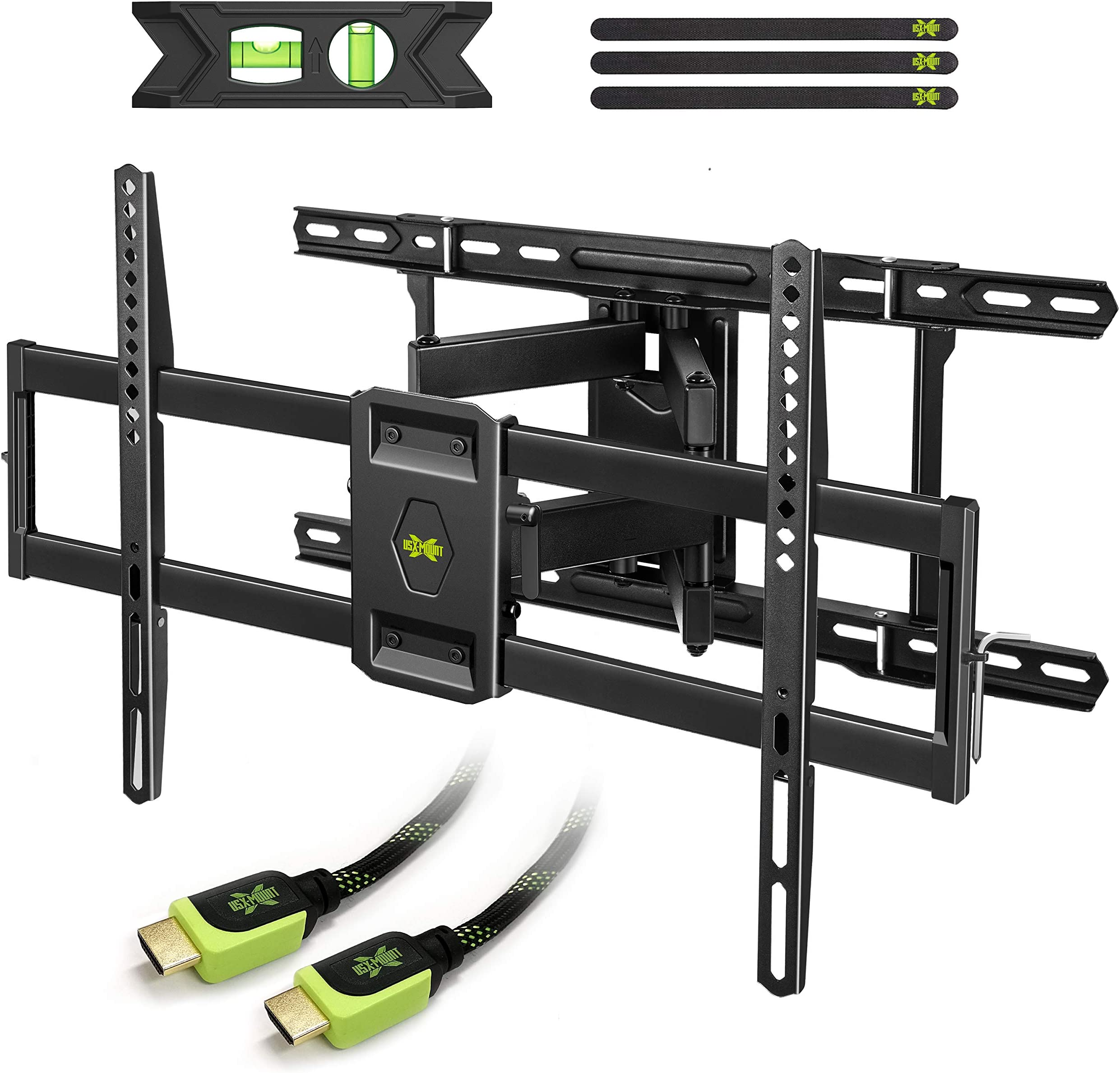 """USX MOUNT Full Motion TV Mount Wall Bracket for 42""""-80"""" Flat Screen LED LCD 4K TV, Tilt Swivel TV Mounts with Articulating Arms Max VESA 600x400mm, Weight Capacity 110lbs Up to 24"""" Wood Stud"""