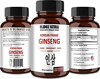 Oladole Natural Red Panax Ginseng 120 Capsules Extra Strength Root Extract Powder Supplement w/High Ginsenosides for Energ...