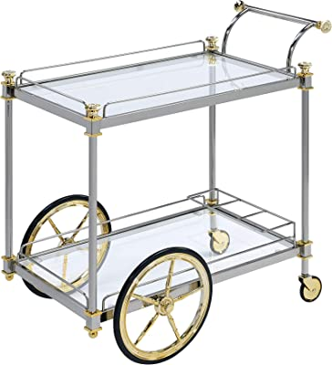 ACME Cyrus Serving Cart - - Silver/Gold & Clear Glass