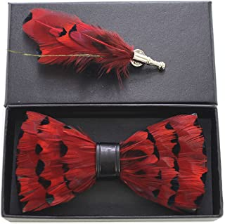 RBOCOTT Mens Handmade Feather Pre-tied Bow tie and Brooch Sets