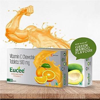 Eucee Vitamin C chewable Tablets 500 mg-Immunity-antioxidant-skincare(120 tablets) (Orange)