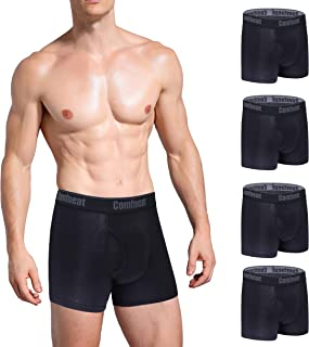 Men's 4-Pack Bamboo Rayon Boxer Briefs Ultra Soft Comfy Underwear with Fly